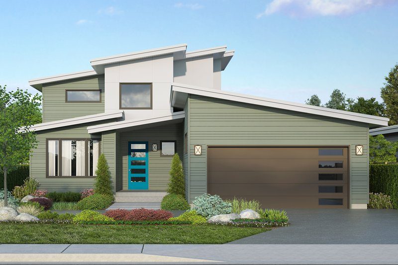 Modern Style House Plan - 3 Beds 2 Baths 2448 Sq/Ft Plan #124-1207 Exterior - Front Elevation