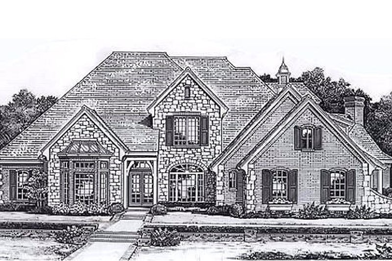 European Style House Plan - 4 Beds 5 Baths 4004 Sq/Ft Plan #310-951 Exterior - Front Elevation