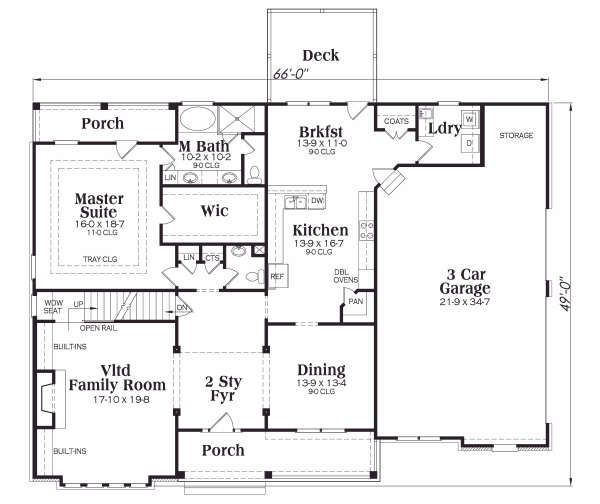 Dream House Plan - Traditional Floor Plan - Main Floor Plan #419-138