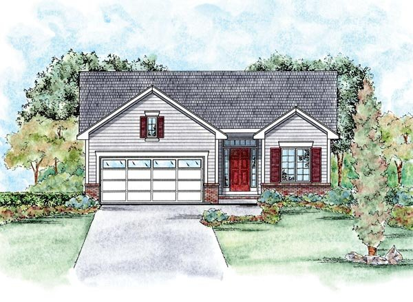 Traditional Style House Plan - 2 Beds 2 Baths 1209 Sq/Ft Plan #20-1714 Exterior - Front Elevation