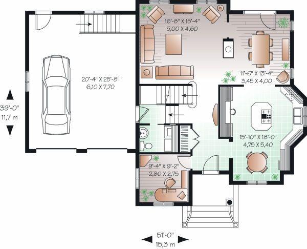 Traditional Floor Plan - Main Floor Plan Plan #23-809