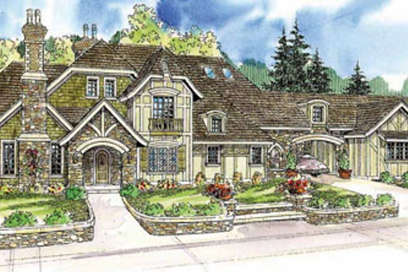 Tudor Exterior - Front Elevation Plan #124-748