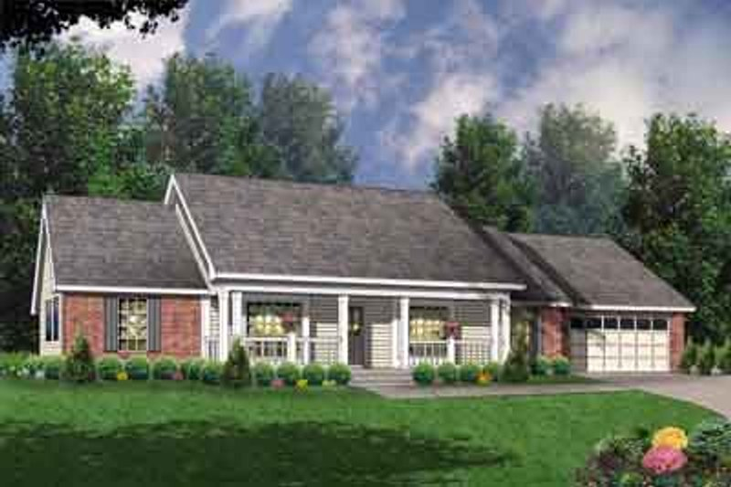 Southern Style House Plan - 3 Beds 2 Baths 1772 Sq/Ft Plan #40-331 Exterior - Front Elevation