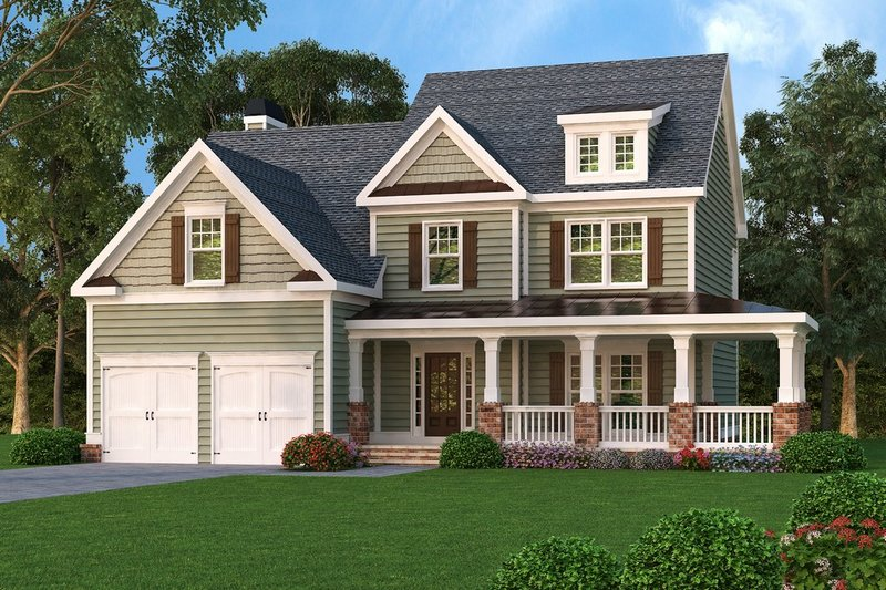 Country Style House Plan - 3 Beds 2.5 Baths 2489 Sq/Ft Plan #419-181 Exterior - Front Elevation