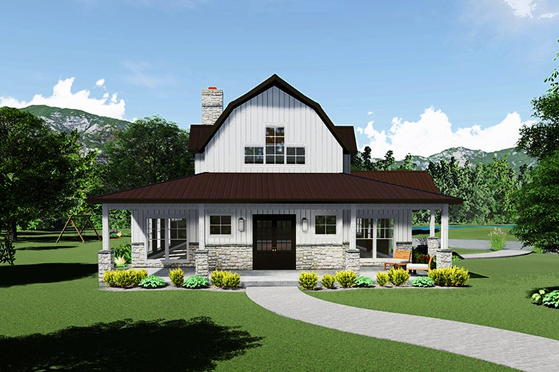 Farmhouse Style House Plan - 3 Beds 3.5 Baths 3414 Sq/Ft Plan #923-115 Exterior - Front Elevation