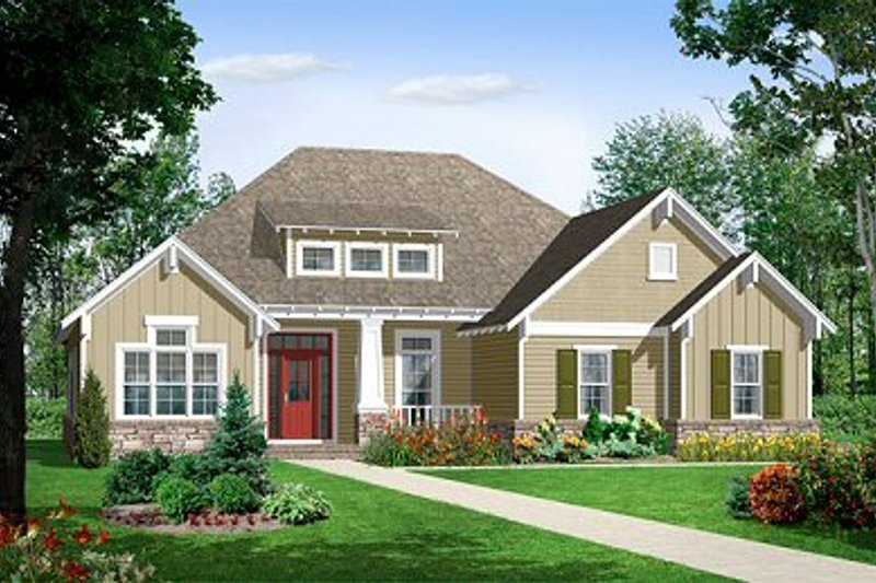 Dream House Plan - Craftsman Exterior - Front Elevation Plan #21-212