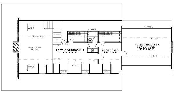Traditional Floor Plan - Upper Floor Plan Plan #17-1163