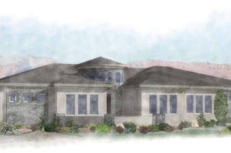 Adobe / Southwestern Style House Plan - 4 Beds 3 Baths 2693 Sq/Ft Plan #24-264 Exterior - Front Elevation