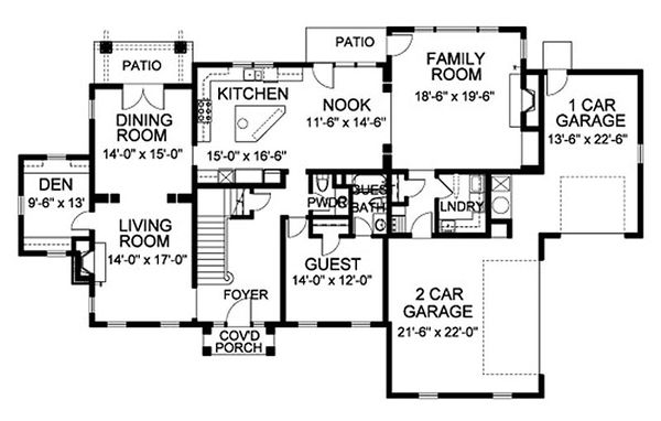 Traditional Floor Plan - Main Floor Plan Plan #490-9