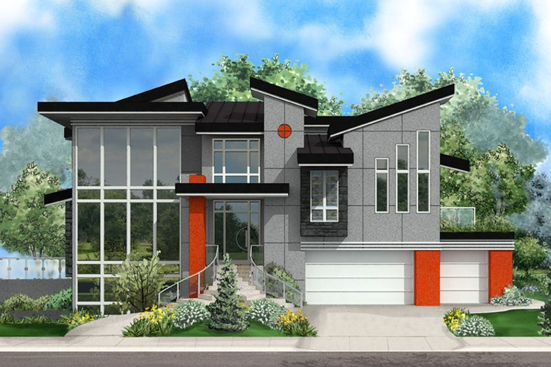 Modern Style House Plan - 5 Beds 5.5 Baths 7766 Sq/Ft Plan #27-533 Exterior - Front Elevation