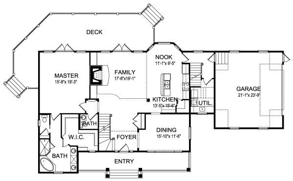 Craftsman Floor Plan - Main Floor Plan Plan #417-276