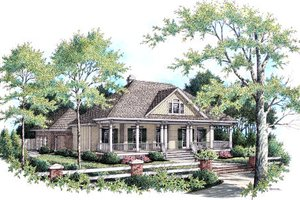 Southern Exterior - Front Elevation Plan #45-343