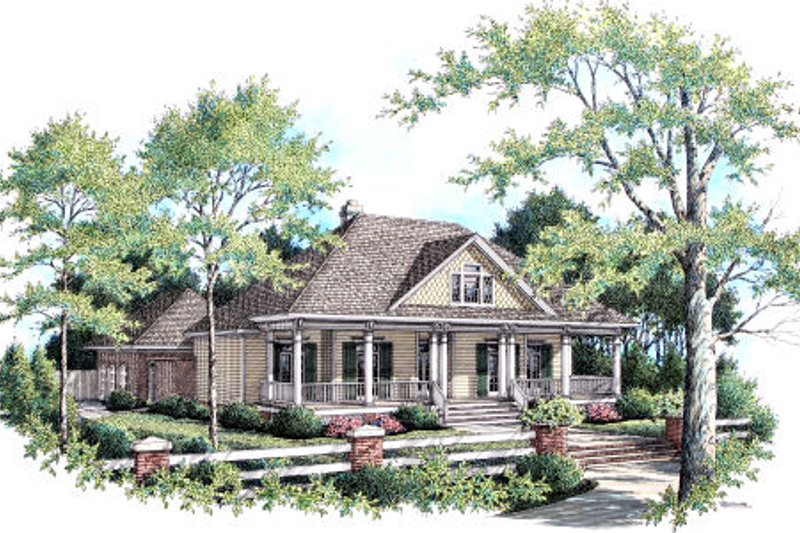 Southern Style House Plan - 3 Beds 2 Baths 2045 Sq/Ft Plan #45-343 Exterior - Front Elevation