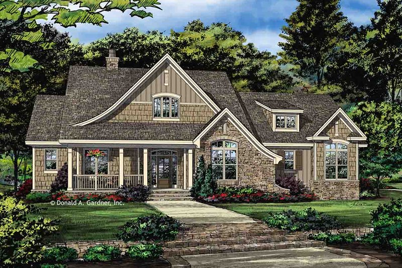 European Style House Plan - 4 Beds 3 Baths 2132 Sq/Ft Plan #929-1041 Exterior - Front Elevation