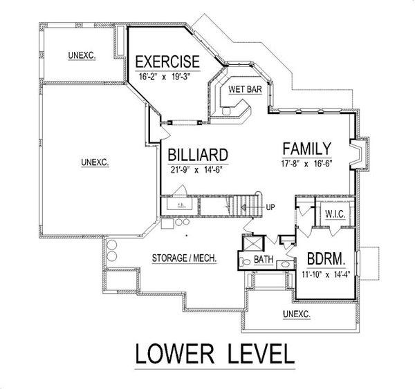 European Floor Plan - Lower Floor Plan Plan #458-19