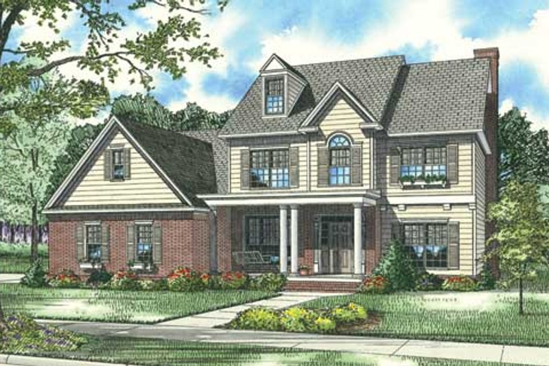 Traditional Style House Plan - 4 Beds 3.5 Baths 2952 Sq/Ft Plan #17-401 Exterior - Front Elevation