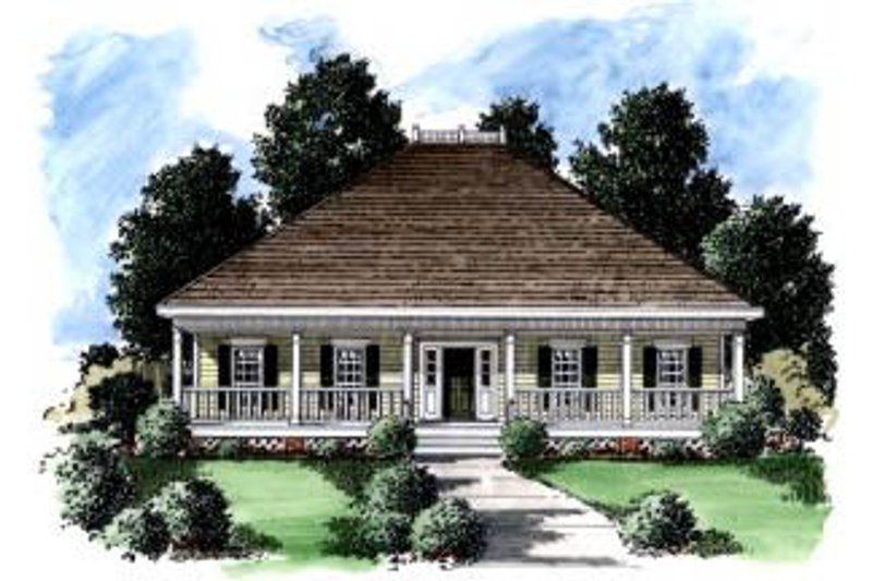 Southern Exterior - Front Elevation Plan #37-147