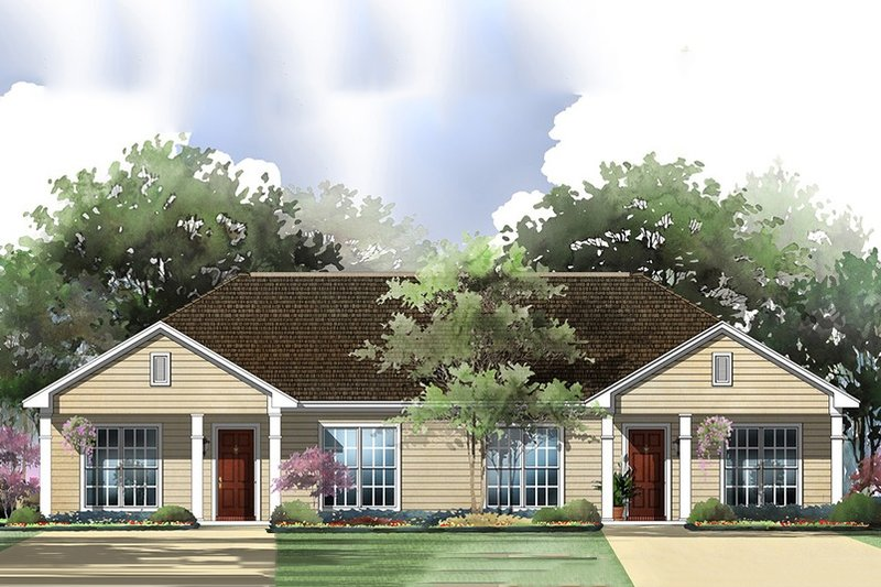 Ranch Style House Plan - 2 Beds 2 Baths 1800 Sq/Ft Plan #430-28 Exterior - Front Elevation