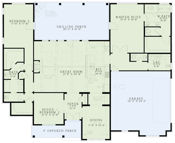 European Floor Plan - Main Floor Plan Plan #17-2543