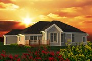 Craftsman Style House Plan - 3 Beds 2 Baths 2092 Sq/Ft Plan #70-1195 Exterior - Rear Elevation