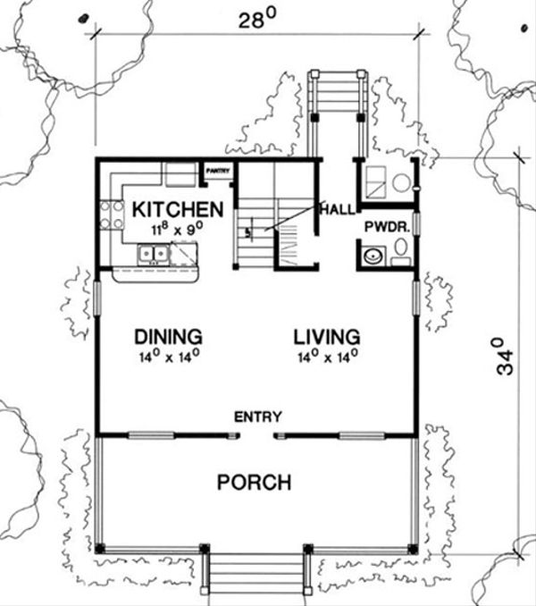 Cottage Style House Plan - 2 Beds 2.5 Baths 1201 Sq/Ft Plan #472-6 Floor Plan - Main Floor Plan