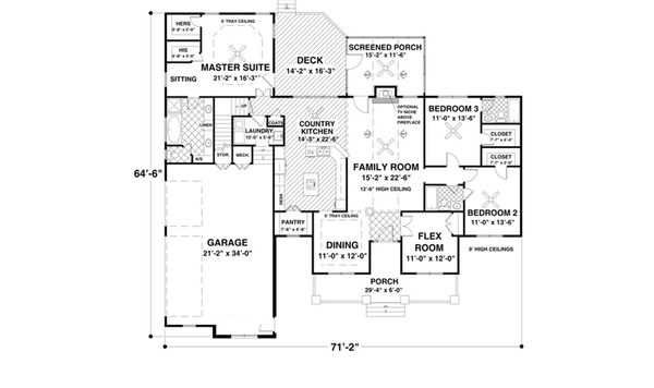 Traditional Floor Plan - Main Floor Plan Plan #56-639