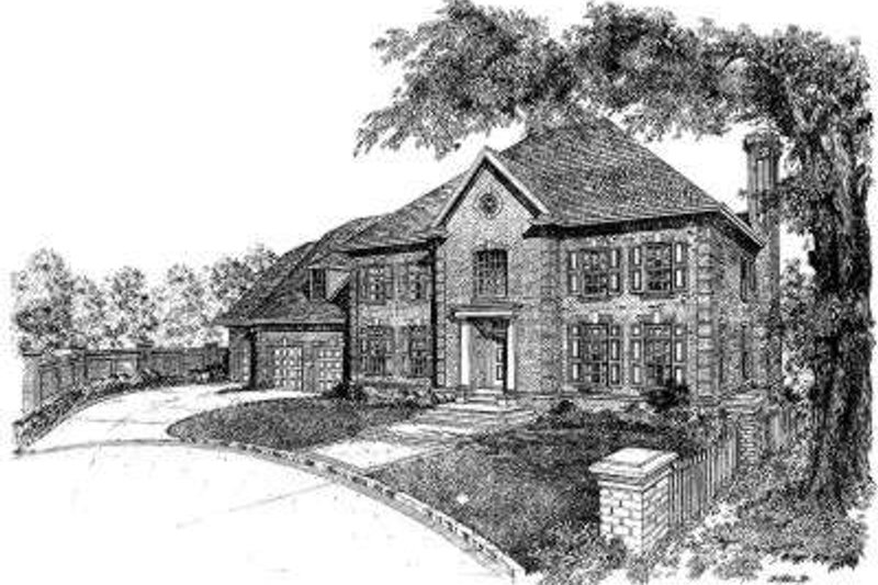 European Style House Plan - 4 Beds 4.5 Baths 5145 Sq/Ft Plan #322-122 Exterior - Front Elevation