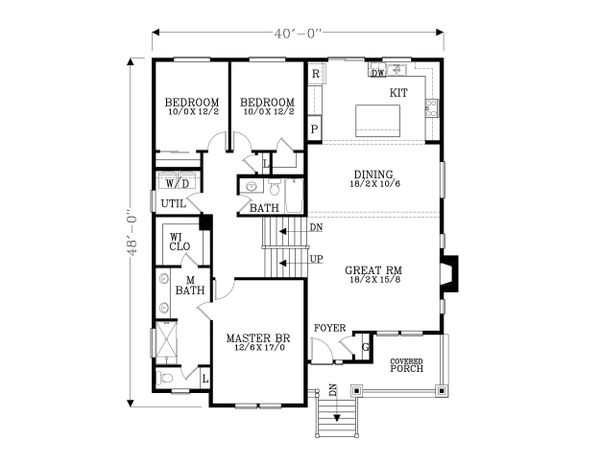 Craftsman Floor Plan - Main Floor Plan Plan #53-613