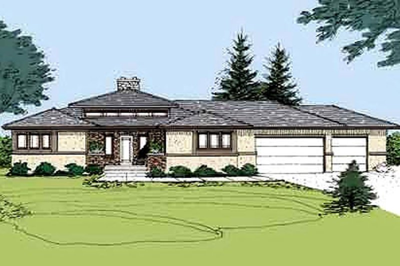 Prairie Exterior - Front Elevation Plan #320-406