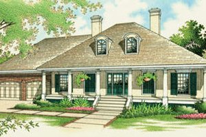 Southern Exterior - Front Elevation Plan #45-274
