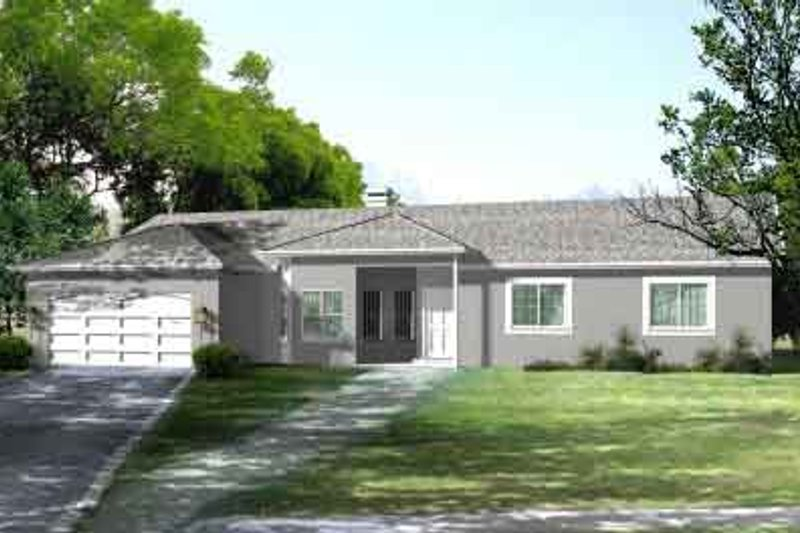 Adobe / Southwestern Style House Plan - 3 Beds 2 Baths 2084 Sq/Ft Plan #1-1416 Exterior - Front Elevation