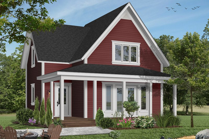 Cottage Exterior - Front Elevation Plan #23-598