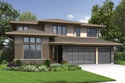 Contemporary Style House Plan - 3 Beds 3 Baths 2939 Sq/Ft Plan #48-707 Exterior - Front Elevation
