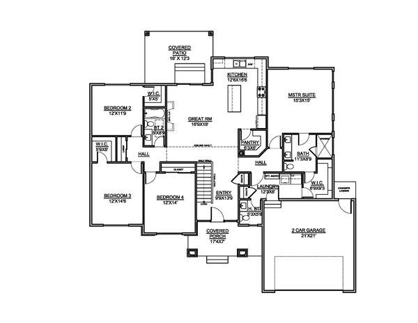 House Blueprint - Contemporary Floor Plan - Main Floor Plan #1073-20