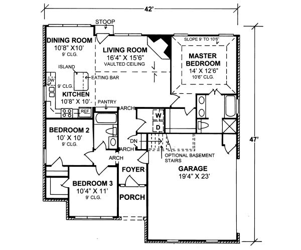 Traditional Floor Plan - Main Floor Plan Plan #20-334