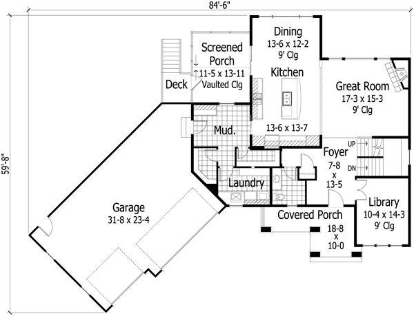 Craftsman Floor Plan - Main Floor Plan Plan #51-430