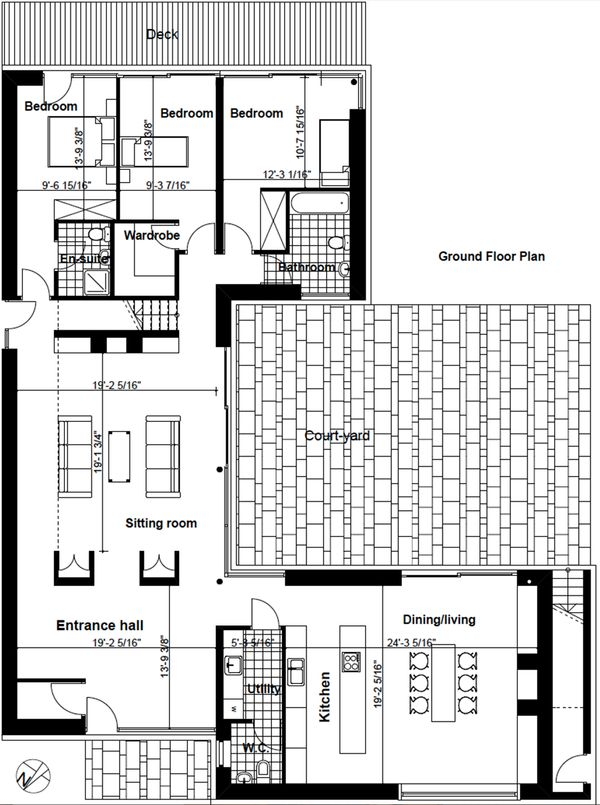 Exclusive Modern style House plan designed by Frank McGahon, main level floor plan