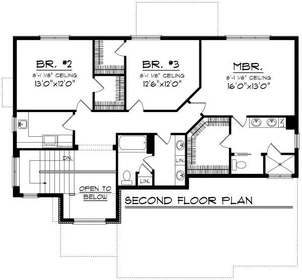 Architectural House Design - European Floor Plan - Upper Floor Plan #70-1171