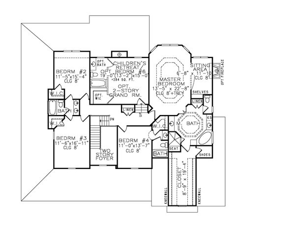 Farmhouse Floor Plan - Upper Floor Plan Plan #54-378