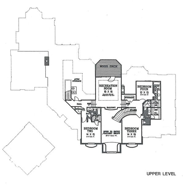 European Floor Plan - Upper Floor Plan Plan #310-354