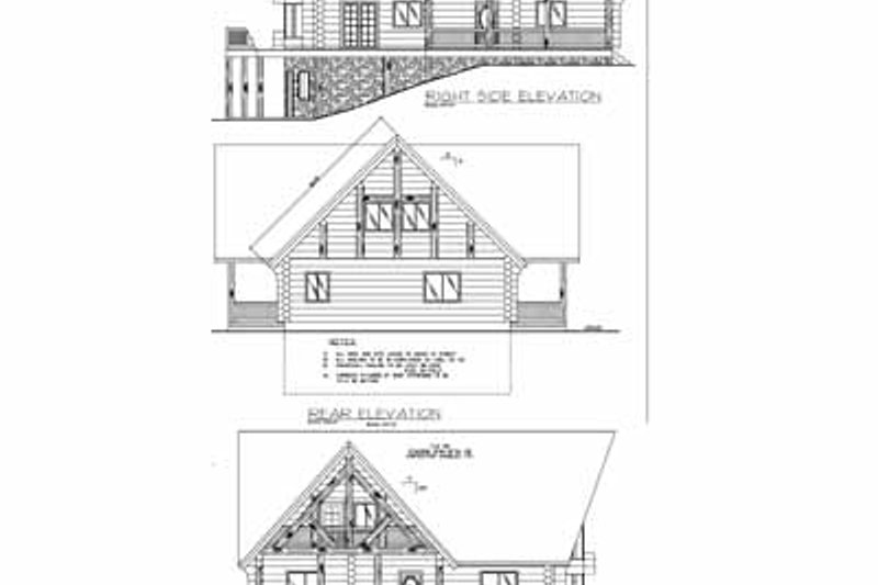 Log Exterior - Rear Elevation Plan #117-103 - Houseplans.com