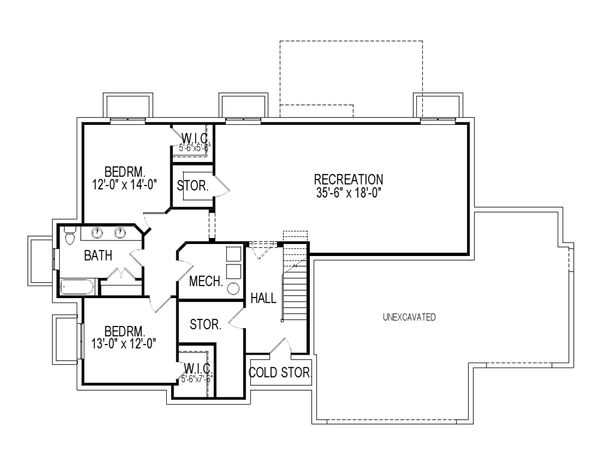 Ranch Floor Plan - Lower Floor Plan Plan #920-83