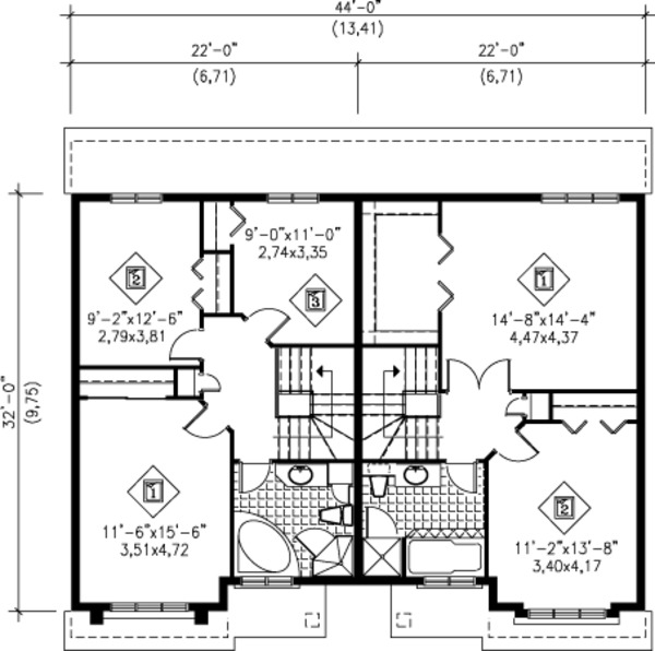 Traditional Floor Plan - Upper Floor Plan Plan #25-4253