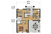 Contemporary Style House Plan - 3 Beds 2 Baths 1536 Sq/Ft Plan #25-4365 Floor Plan - Main Floor Plan