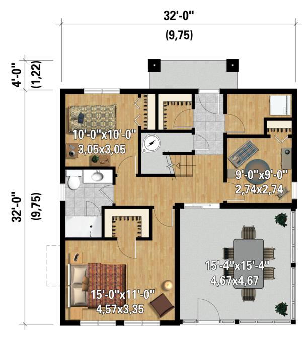 Contemporary Floor Plan - Main Floor Plan Plan #25-4365