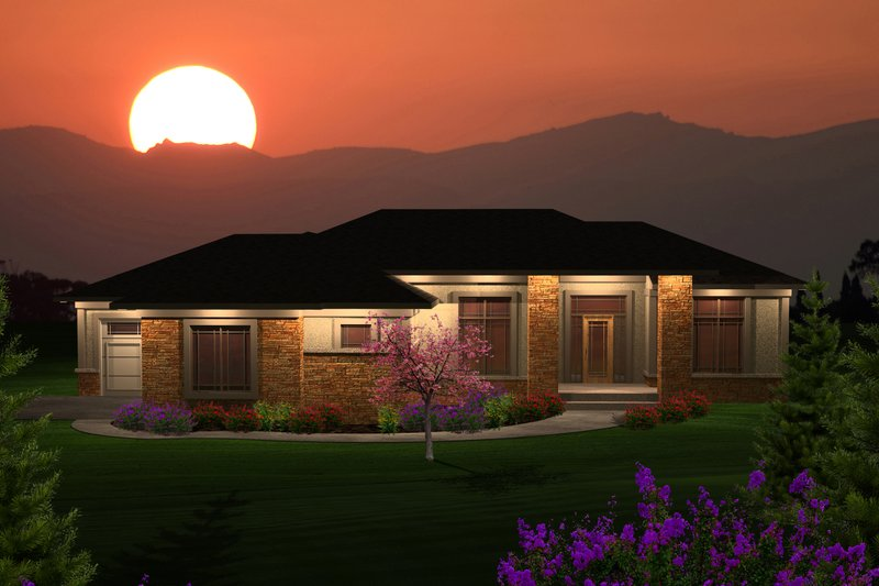 Ranch Exterior - Front Elevation Plan #70-1120