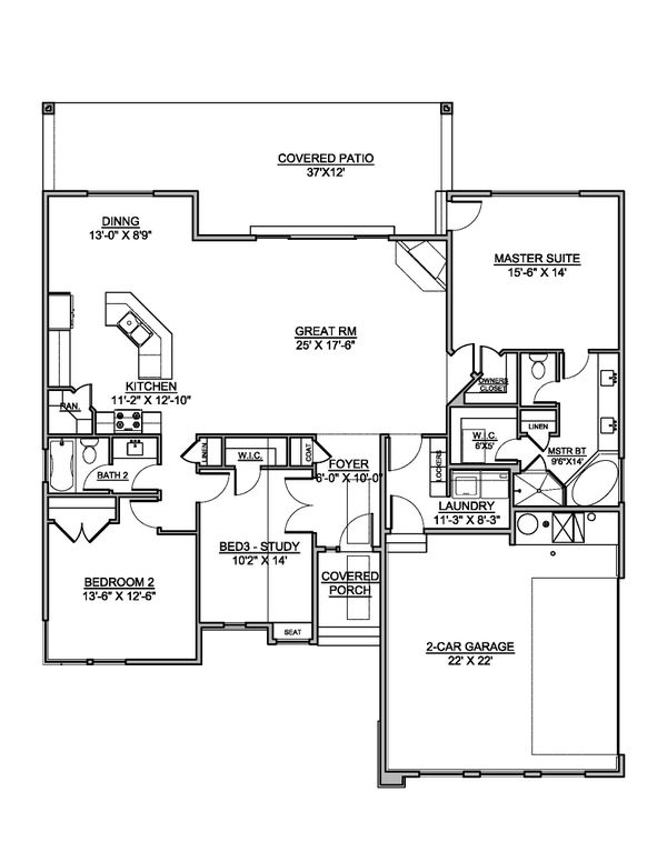 Modern Floor Plan - Main Floor Plan #1073-22