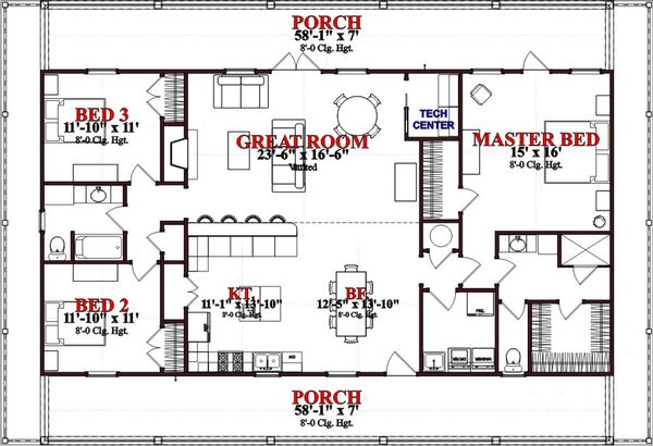 Beach Floor Plan - Main Floor Plan Plan #63-364