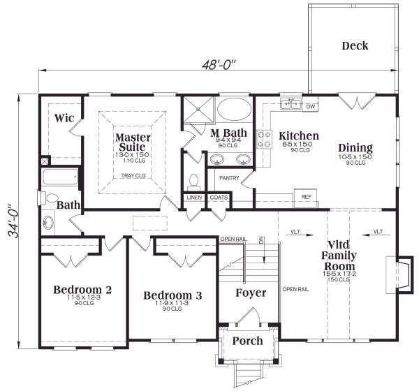 Traditional Floor Plan - Main Floor Plan Plan #419-172