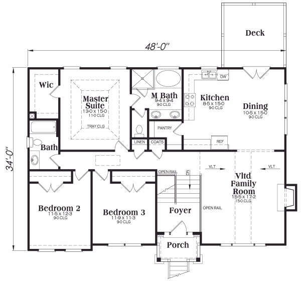Dream House Plan - Traditional Floor Plan - Main Floor Plan #419-172
